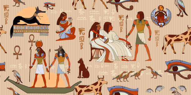 Ancient Egypt seamless pattern Ancient Egypt seamless pattern. Hieroglyphic carvings on the exterior walls of an ancient egyptian pattern. Egyptian gods and pharaohs. Grunge Egypt seamless murals background ancient egyptian culture stock illustrations