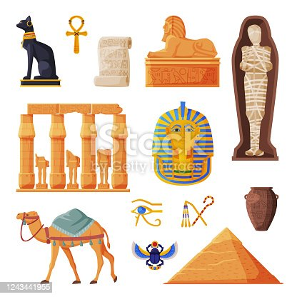 istock Ancient Egypt Set, Egyptian Traditional Cultural and Historical Symbols Flat Style Vector Illustration on White Background 1243441955