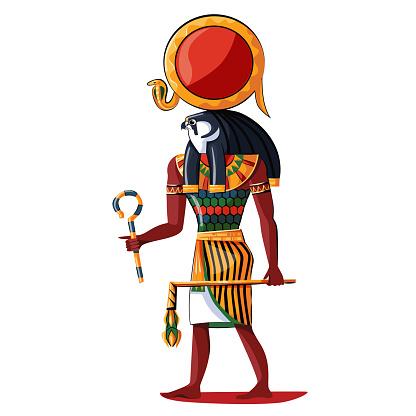 Ancient Egypt sun god Ra cartoon illustration