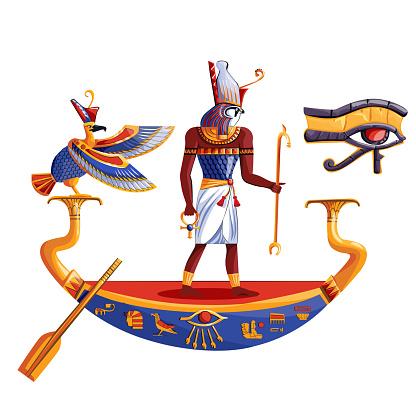Ancient Egypt sun god Ra or Horus in boat