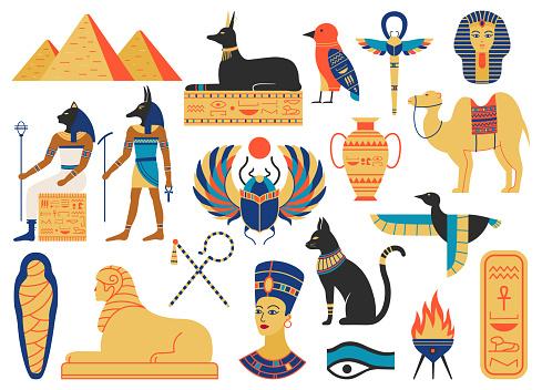 Ancient egypt symbols. Mythological creatures, egypt gods, pyramid and sacred animals. Egypt religion and mythology symbols vector illustration set
