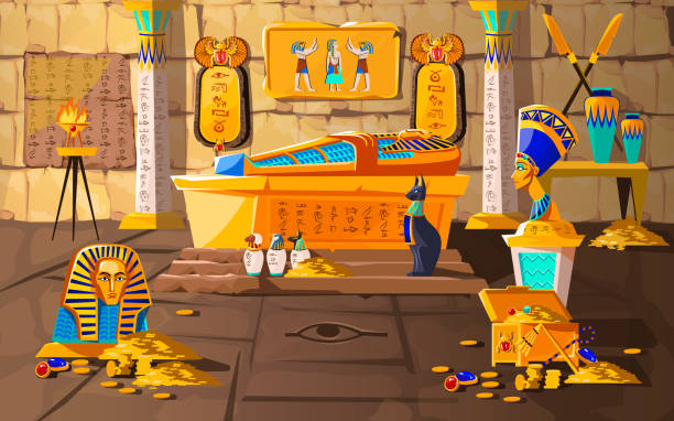 Ancient Egypt tomb of pharaoh cartoons vector Ancient Egypt tomb of pharaoh cartoons vector illustration. Egyptian pyramid interior with golden sarcophagus, hieroglyphs and mural, scarab beetles, ritual vases and other religious symbols, treasure egyptian culture stock illustrations