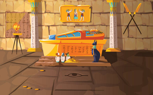 Ancient Egypt tomb of pharaoh cartoons vector Ancient Egypt tomb of pharaoh cartoons vector illustration. Egyptian pyramid interior with golden sarcophagus, hieroglyphs and mural, ritual vases and other religious symbols, treasure egypt stock illustrations