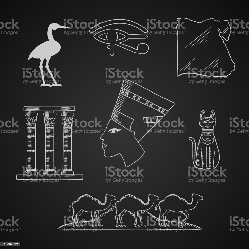 Ancient Egypt travel and art icons vector art illustration