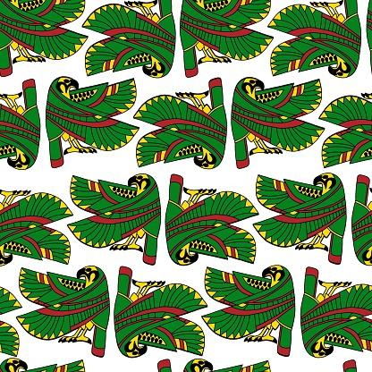 Ancient egyptian god Ra falcon seamless pattern vector