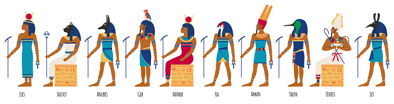 Ancient egyptian gods. Egyptian culture gods, Anubis, Osiris, Isis, Bastet and Amun Ra. Historical egyptian culture characters vector illustration set
