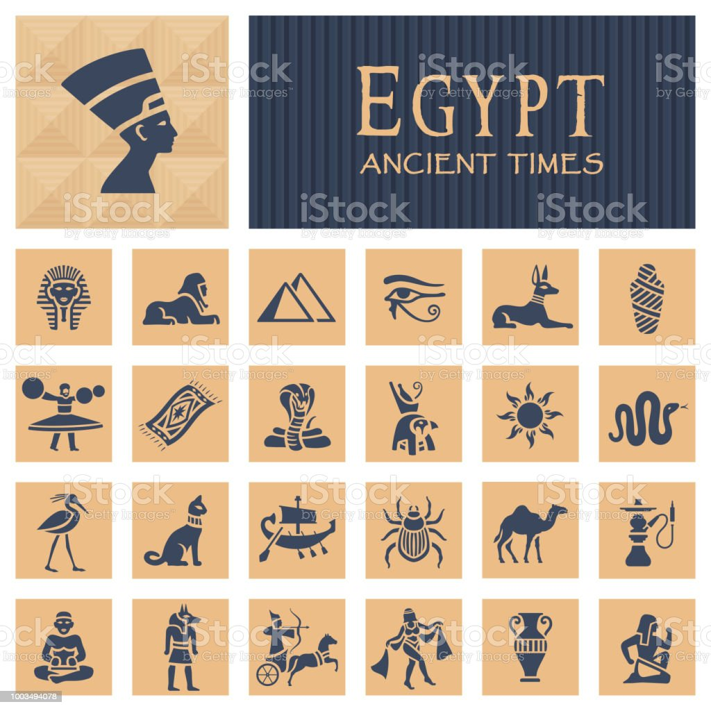 Ancient egyptian icons vector art illustration