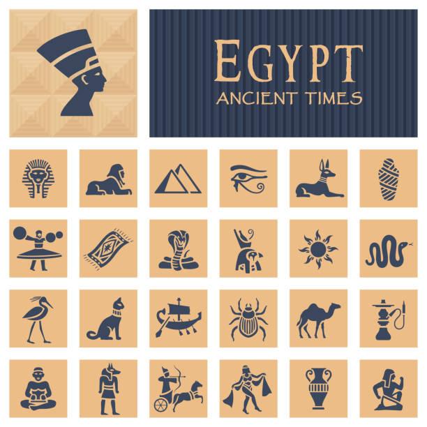bildbanksillustrationer, clip art samt tecknat material och ikoner med forntida egyptiska ikoner - egyptisk kultur