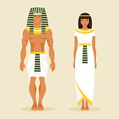 Ancient Egyptian man and a woman. Vector illustration