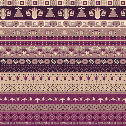 Ancient Egyptian Ornament Tribal Seamless Pattern Stock