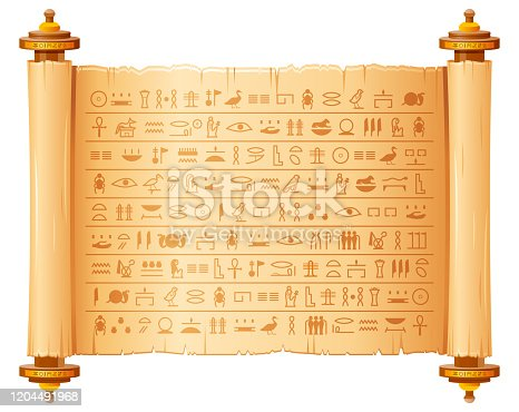istock Ancient egyptian papyrus with hieroglyphs. Historical vector pattern from Ancient Egypt. 3d old scroll with script, pharaohs and gods symbols. Ornamen art design, text letter papyrus illustration 1204491968