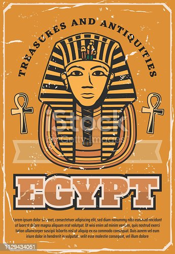Travel to Egypt poster with ancient egyptian pharaoh Tutankhamen golden death mask in nemes with royal sign of cobra and vulture, plaited beard and symbols of life ankh. Tourism and history vector