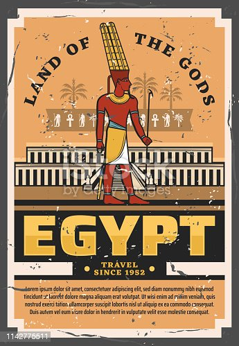 Egypt travel vintage vector poster with ancient egyptian pharaoh palace or temple religious building with hieroglyphs of ankh, horus eye and palms, Horus and Anubis gods. Tourism and travel design