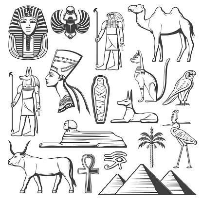 Ancient Egyptian pharaoh, mummy, pyramids, Sphinx