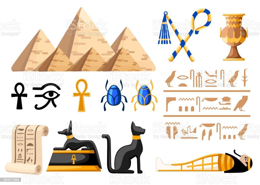 Ilustración De Símbolos Egipcios Antiguos Y Decoración