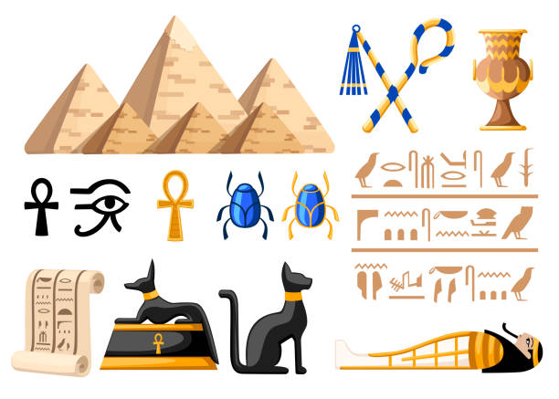 Ancient Egyptian symbols and decoration Egypt flat icons vector illustration on white background web site page and mobile app design Ancient Egyptian symbols and decoration Egypt flat icons vector illustration on white background web site page and mobile app design. egypt stock illustrations