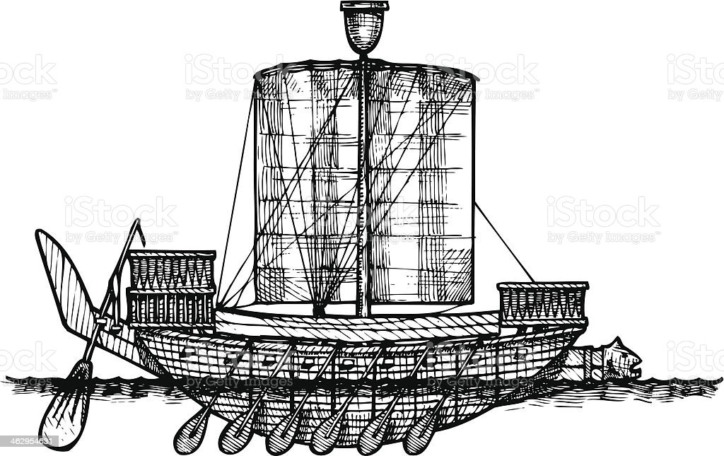 Ancient Egyptian warship. royalty-free stock vector art