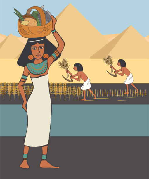 ancient egyptian woman with food basket at pyramids background ancient egyptian woman with food basket at pyramids background, colorful vector cartoon historical illustration ancient egyptian culture stock illustrations