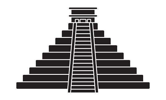 Ancient el Castillo pyramid / kukulkan pyramid flat icon for apps and websites