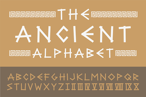 Ancient english creative alphabet. Vector old greek font. Trendy stylized latin letters and numerals