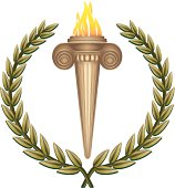 Ancient flaming torch with a laurel wreath.