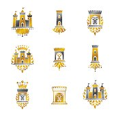 Ancient Fortresses emblems set. Heraldic Coat of Arms, vintage vector icons collection.