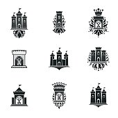 Ancient Fortresses emblems set. Heraldic Coat of Arms, vintage vector symbols collection.