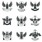 Ancient Forts emblems set. Heraldic Coat of Arms decorative symbols isolated vector illustrations collection.