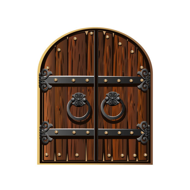 Ancient gate decorated with iron Ancient gate decorated with iron. Cartoon style. Vector illustration gate stock illustrations