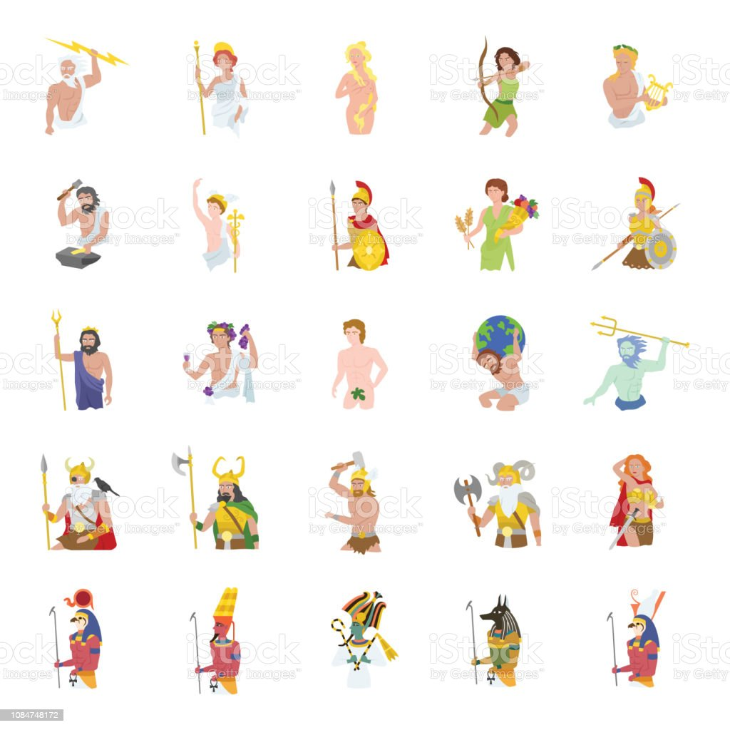 Ancient Gods color vector icons vector art illustration