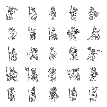 Ancient Gods outlines vector icons