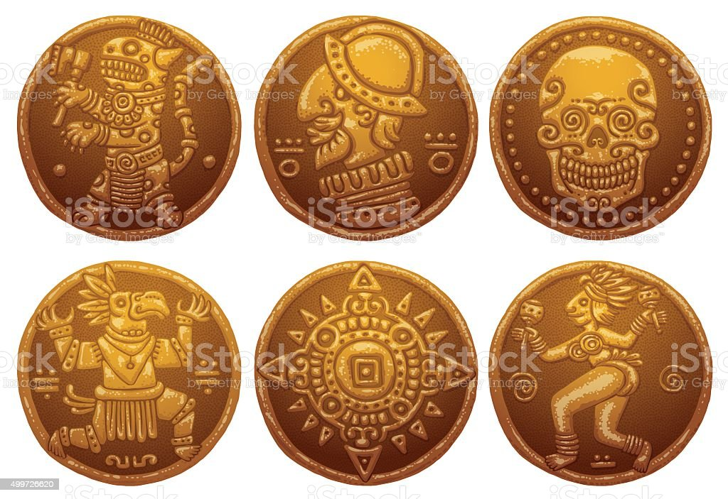 Ancient Gold Coins set vector art illustration