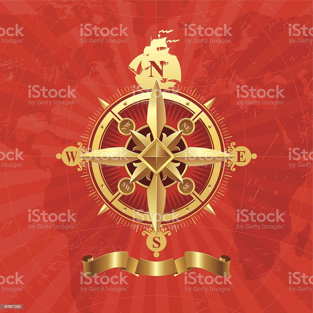 Ancient golden compass rose royalty-free ancient golden compass rose stock vector art & more images of adventure