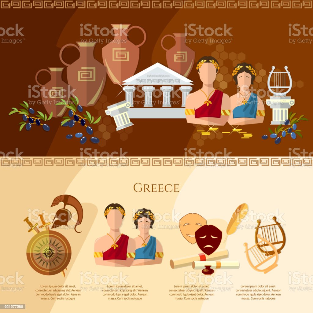 Ancient Greece, Ancient Rome culture and tradition vector art illustration