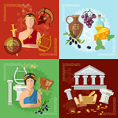 Ancient Greece and Rome tradition and culture vector set