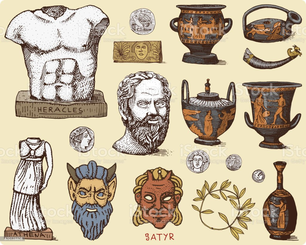 Ancient Greece Antique Symbols Socrates Head Laurel Wreath Athena