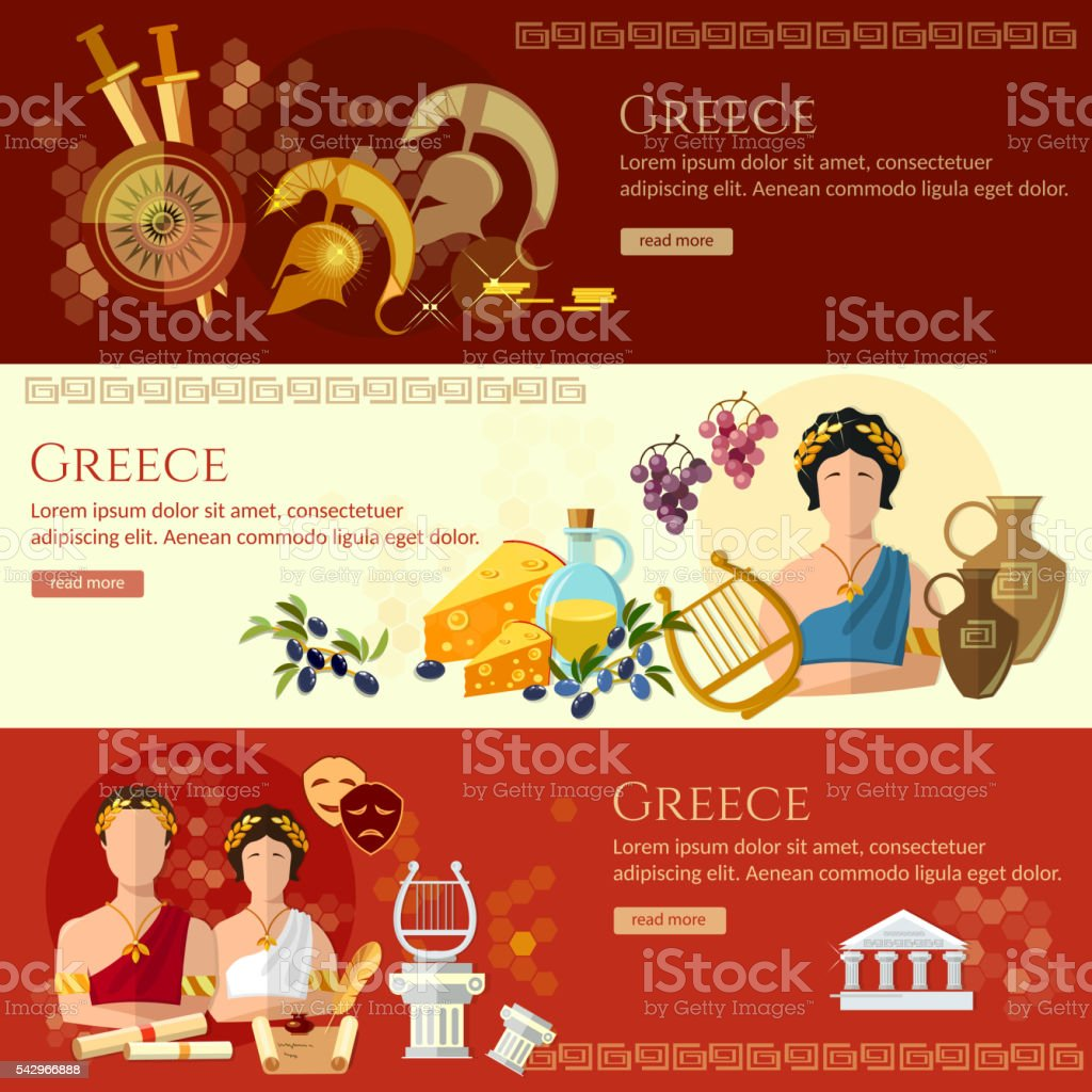 Ancient Greece banner tradition and culture ancient history vector art illustration