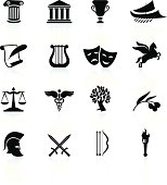 Ancient Greece black and white icon set