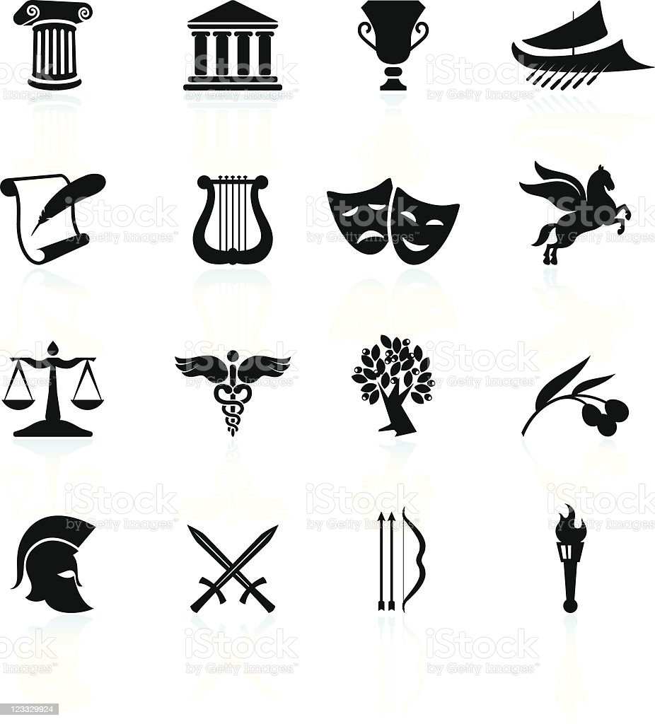 Ancient Greece black and white royalty free vector icon set vector art illustration