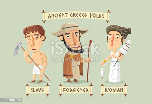 Ancient Greece non-citizens set: a slave working in the fields, a woman spinning linen and a foreigner with his hat and staff.