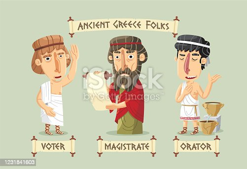 Ancient Greece democracy set: an eloquent orator with a water clock, a voter raising his hand and a magistrate organizing the assembly.
