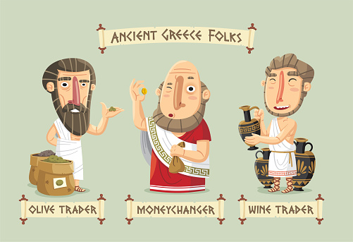 Ancient Greece Agora set: a olive trader showing his goods, a moneychangerexamining a coin and a wine trader with a vase full of wine.