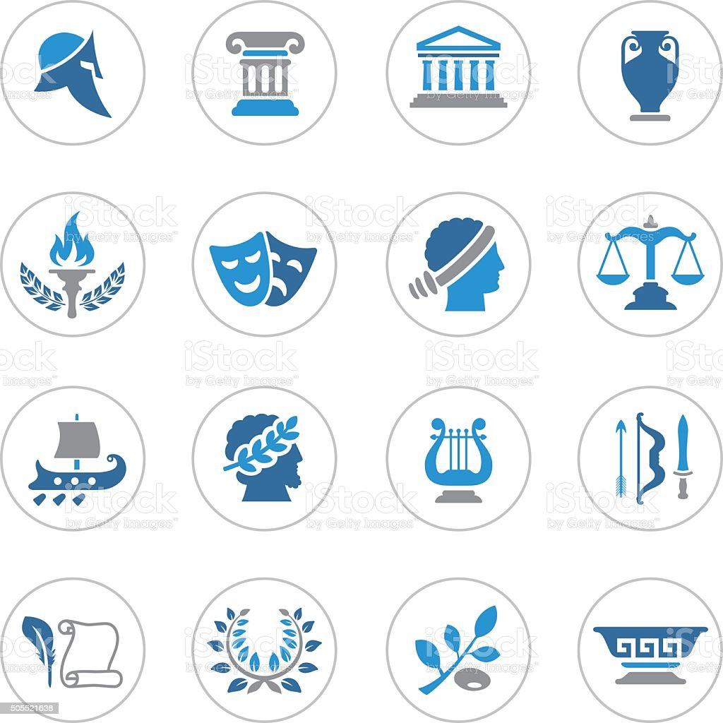 Ancient Greece Icons vector art illustration