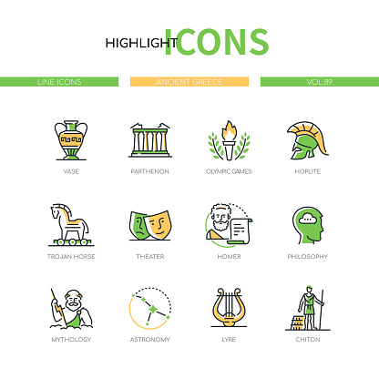Ancient Greece - modern line design style icons set