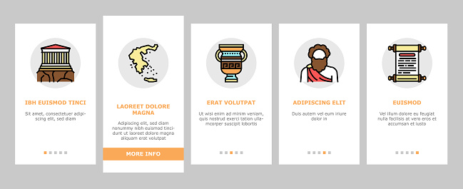 Ancient Greece Mythology History Onboarding Icons Set Vector