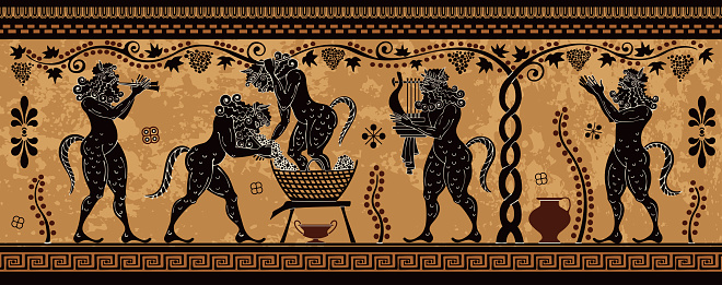 Ancient greece mythology.Black figure pottery.Ancient greek scene banner.