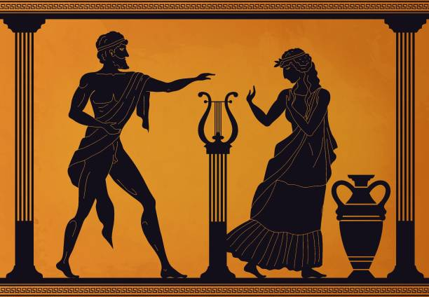 Ancient Greece scene. Antic vase with silhouettes of mythology characters and gods, Vector legendary Greek people pattern vector art illustration