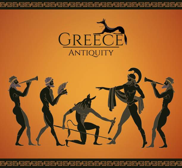 Ancient Greece scene. Hunting for a Minotaur vector art illustration