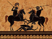 Ancient greek painting.Pottery art.Stylized ancient greek background. Mediterranean culture.Deities and heros of antique greece