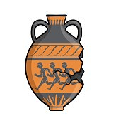 Ancient Greek amphora, clay antique Greece pottery. Flat vector illustration isolated on white background.